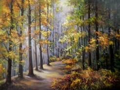 Picturi de vara Melancolie colorata cu frunze