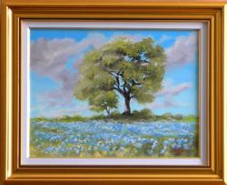 Picturi de vara Camp cu flori albastre