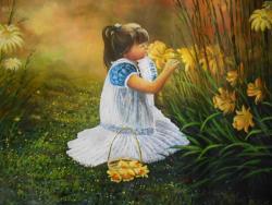 Picturi de vara Fetita si florile