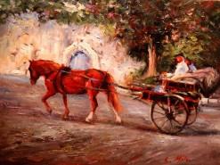 Picturi de vara La plimbare cu trasurica