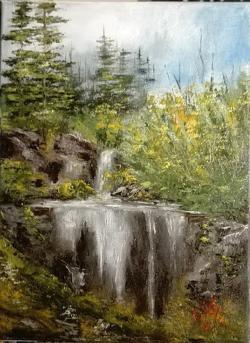 Picturi de vara Cascada ascunsa