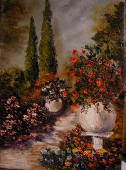 Picturi de vara Gradina cu chiparosi