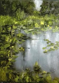Picturi de vara Lac cu nuferi galbeni