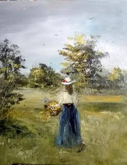 Picturi de vara Tanara cu cosul