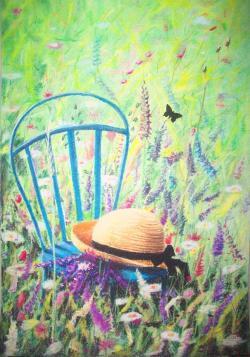 Picturi de vara Palaria pe scaun