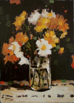 Picturi de vara Paharul cu flori,ULEI PE CARTON