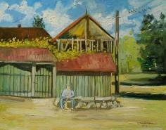 Picturi de vara Batran odihnindu-se la poarta