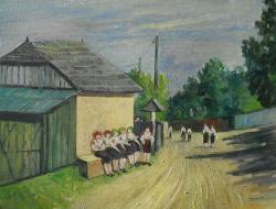 Picturi de vara zi de sarbatoare , intoarcere de la vecernie