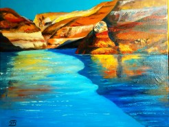 Picturi de vara Lake powell utah - afternoon shadows - by george july 2012