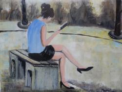Picturi de vara Citind in parc