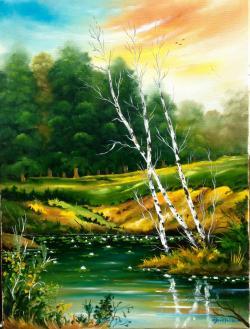 Picturi de vara Mesteceni la mal de apa