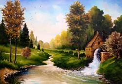 Picturi de vara Peisaj cu moara