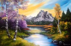 Picturi de vara Peisaj de munte cu lac