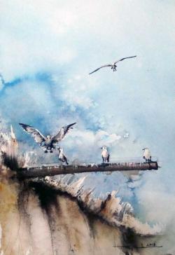 Picturi acuarela O poveste cu pescarusi la 2 Mai
