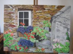 Picturi de vara Pe trepte cu flori