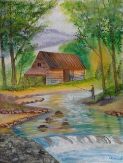 Picturi de vara Pescarul amator