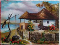 Picturi de vara Casuta cu trandafiri