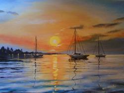 Picturi de vara peisaj cu barci ....