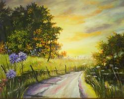 Picturi de vara La drum de seara iazul