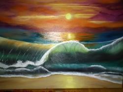 Picturi maritime navale Apus de soare pe mare
