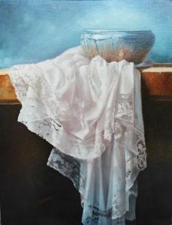 Picturi decor Vas albastru cu draperie
