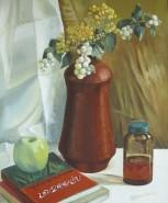 Picturi decor Vas de ceramica si carti