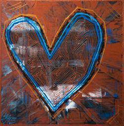 Picturi decor Copper Heart Blue