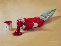 Picturi decor Pictura originala in ulei - tub rosu