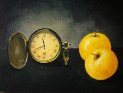 Picturi decor ceas si mere galbene