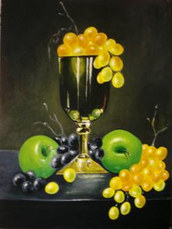 Picturi decor compozitie cu mere verzi si struguri