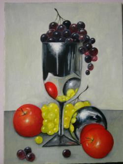 Picturi decor Cupa argintie si fructe