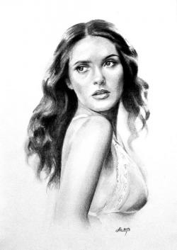 Picturi in creion / carbune Salma Hayek 01