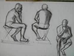 Picturi in creion / carbune crochiu