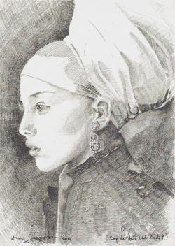 Picturi in creion / carbune Cap de fata - studiu