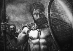 Picturi in creion / carbune Gerard butler  300 spartans