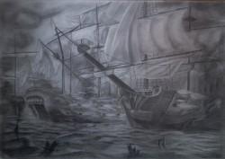 Picturi in creion / carbune Naval battle