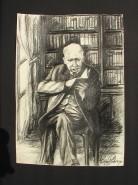 Picturi in creion / carbune Batranul bibliotecar