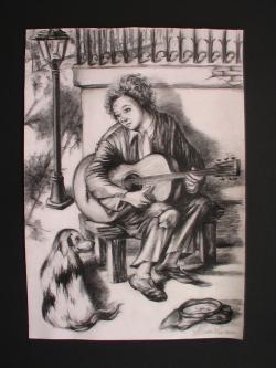 Picturi in creion / carbune Micul cantaret