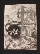 Picturi in creion / carbune Natura statica cu ciuperci