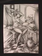 Picturi in creion / carbune Nud 1