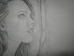 Picturi in creion / carbune Girl at window