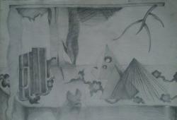 Picturi in creion / carbune Masa haotica