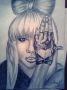Picturi in creion / carbune Lady gaga