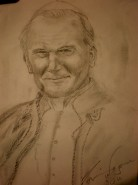 Picturi in creion / carbune Papa ioan paul ii
