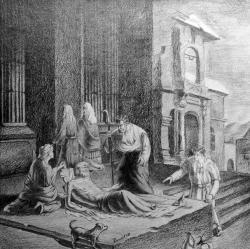 Picturi in creion / carbune Sfantul Petru tamaduind