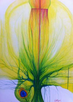 Picturi in creion / carbune Drum initiatic