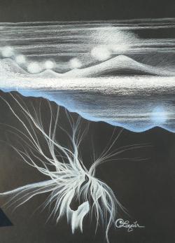 Picturi in creion / carbune Lumina de dincolo de noapte