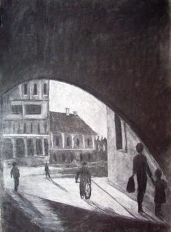 Picturi in creion / carbune Gangul de pe Cetatuie
