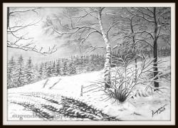 Picturi in creion / carbune  drum de munte