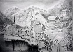 Picturi in creion / carbune Peisaj alpin